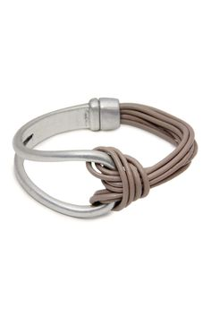 Nude Leather Knotted Loop Bracelet