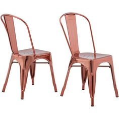 Better Homes & Gardens Leo Dining Chairs, Set of 2, Rose Gold, Bronze
