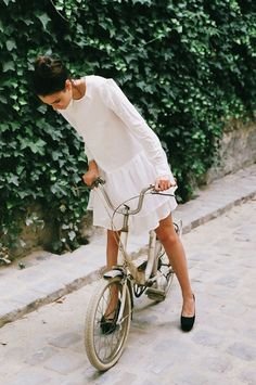 White Drop Waist Dress, Black Flats // curious fashion, cloth, bike rides, style, bicycl, dresses, inspir, white dress, wear