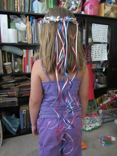 DIY Ribbon Crown.  Some star wire garland and curling ribbon from the dollar store.