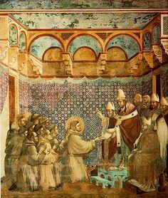 Giotto (di Bondone), Aprobación de la orden Franciscana por Inocencio III. Asís, Basílica Superior. h.1296-1300 -Pintura Italiana SS.XIII-XIV. El Trecento. La escuela de Florencia: Giotto y sus seguidores. -11