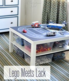 Organized Lego using an Ikea Lack Table