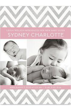 Gray Pink Chevron Girl Photo Birth Announcement
