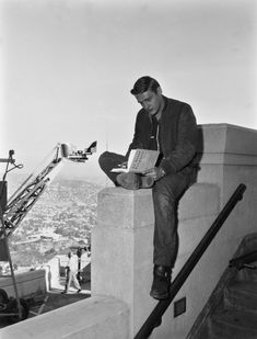 18-year-old Dennis Hopper takes a break from filming his feature debut on the set of REBEL WITHOUT A CAUSE, 1955