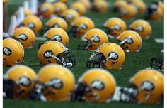 Edmonton Eskimos CFL football helmets