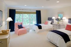 White, blue and coral bedroom