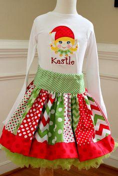 Christmas outfit Christmas skirt set Girls Christmas clothing chevron polka dot red green skirt girl elf shirt elf top santa dress toddler
