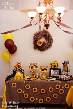 Fall sunflower dessert table