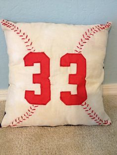 Baseball pillow by MommaMiyaHandmade on Etsy, $25.00