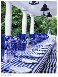 Stunning. table settings, color, dinner parties, white, stripes, porch, tabl set, blues, hydrangeas
