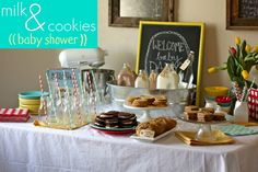 cookies and milk table set up
