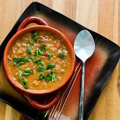 African Inspired Vegetarian Crockpot Soup with Peanut Butter, Chiles, Brown Rice, and Lentils from Kalyns Kitchen #MeatlessMonday