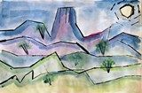 "Paul Klee Landscape II:""Mrs. Jorgenson's Sixth graders painted these desert landscapes using different watercolor paint techniques (washing, glazing, using salt, and stamping). They learned about the Artist Paul Klee, the Element of Design: Space (atmospheric), and the basic format of a landscape. After using pieces of matt board to stamp their design with black acrylic paint, they then filled in the spaces with watercolors. Lesson plan in ""Dynamic Art Projects for Children"""