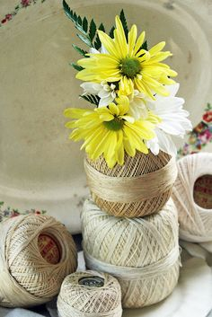 Crochet Thread Spool Vase