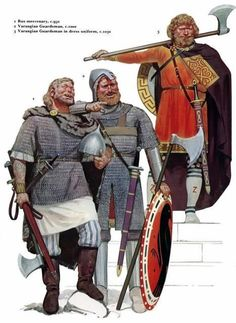 Varègues, vers l'an mil. Illustration par Angus Mc Bride.