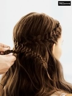 Love this braided crown with beachy waves! Perfect for a bachelorette party. Check out the tutorial on YouTube.