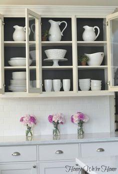 Painted Kitchen Cabinets  Open Shelves / black inside