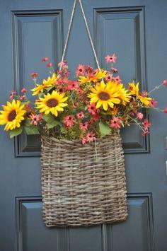 summer flowers, floral basket, summer basket, front doors, door decor