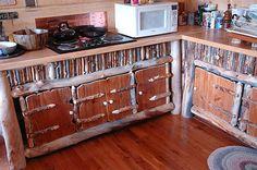 DIY twig and aspen log cabinets
