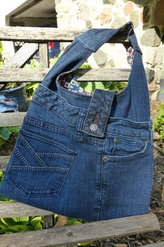 Upcycled blue jeans bag with Plenty of by MJsBlanketsandBags, $25.00