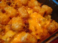 Cheesy Chicken Tater Tot Casserole-can use hamburger instead of chicken