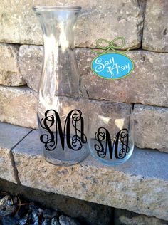 Preppy Monogram Wine Carafe with 2 Matching Stemless Glasses.