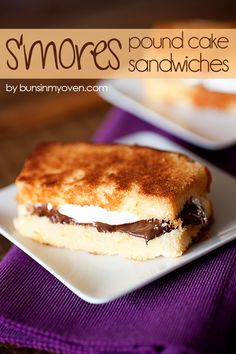 Grilled S'mores sandwich! 4 thin slices Sara Lee All Butter Pound Cake 2 tablespoons Nutella or 4 small chocolate pieces 2 tablespoons marshmallow fluff 1 tablespoon unsalted butter