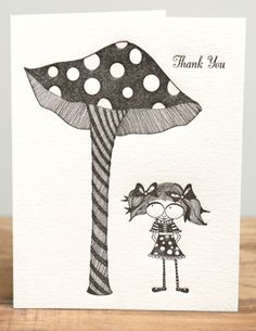 Mushroom Girl | Red Cap Cards | Illustrated greeting card by Carrie Gifford #letterpress