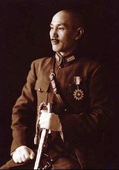 Official portrait of Generalissimo Chiang Kai-shek, president of the Republic of China (ROC) from 1949 until his death in 1975. A nationalist leader from mainland China, Chiang was also nominal leader of China during WW2. After the war his nationalist Kuomintang party was defeated in a civil war with Mao's communists and the nationalists were forced to evacuate  to Taiwan.