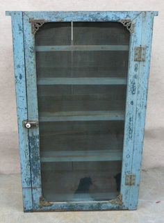 Primitive screen pie safe in old robin's egg blue paint