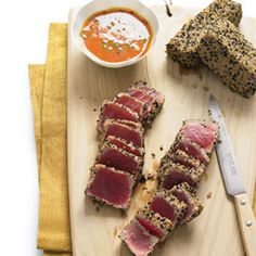 Sesame Seared Tuna with Ginger-carrot sauce... full of healthy!
