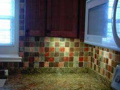 Faux glass tile backsplash