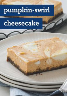 Pumpkin-Swirl Cheesecake — Welcome the season with these creamy dessert bars—filled with your favorite fall flavors like pumpkin, cinnamon, and nutmeg.