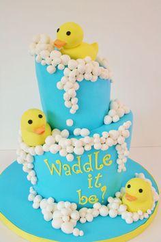 """Waddle it be?"" Rubber Ducky Gender Reveal cake idea"