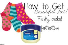 Fix dry, cracked feet overnight. Easy! Slather a generous amount of Vaseline on the bottoms of your feet before going to sleep. Put socks (that you don't mind messing up) on feet after application. Go to sleep, and when you wake up your feet will be smooth, and soft! Repeat until you achieve desired results.