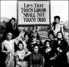 May 2, 1927 Prohibition is in full swing but the sale of hip flasks continues to grow so women's pressure groups like the one in this photo try to ban the sale of hip flasks.