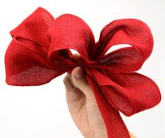 Making a simple bow for a burlap ribbon wreath