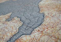 Map quilt inspiration by Leah Evans