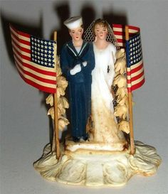 VINTAGE 40'S BRIDE GROOM CHALKWARE NAVY MILITARY WEDDING CAKE TOPPER.