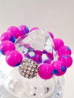 Hot Pink Splattered Blue Bracelet with Diamond Infinity by SHUNTLA, $22.00