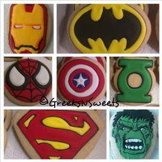 Superhero Cookies....Spiderman IronMan Batman by GreeksNSweets