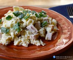 This satisfying scramble is a great choice to start the day with plenty of protein. #breakfast #cheese #chicken #eggs #glutenfree #high-protein #recipes