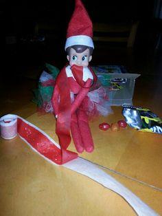 Elf on the Shelf idea....Look at him!!