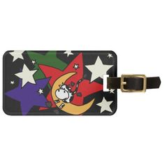 Funny Cow Jumping over Moon Tag For Bags #cows #moon #funny #luggagetags #gifts #art #travel #zazzle #petspower #animals
