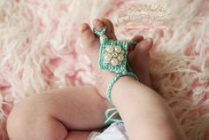 Enchanted Shimmer Designs Strappy Crochet Barefoot Set w/ Pearl Cluster