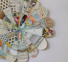 Paper sewn pin wheels for hanging