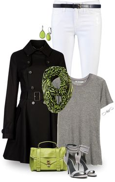 """black + gray + white + chartreuse"" by jill-hammel on Polyvore"