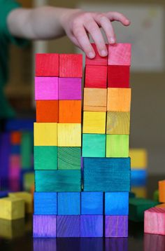 """DIY Dyed Rainbow """"Grimm"""" Style Wooden Blocks - super easy method!  A great gift idea!"""