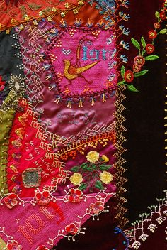 crazy quilt with embroidery stitching