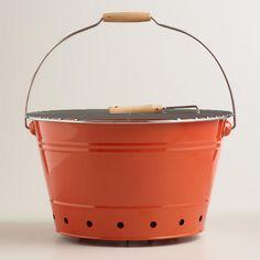One of my favorite discoveries at WorldMarket.com: Orange Galvanized Steel Bucket Grill